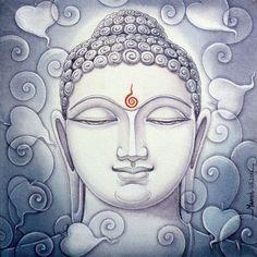 buddha by manish verma - G oogle Search Buddha Kunst, Buddha Art, Buddha Quote, Indian Art Paintings, Paintings I Love, Charcole Drawings, Buddha Painting, Painting Canvas, Acrylic Paintings