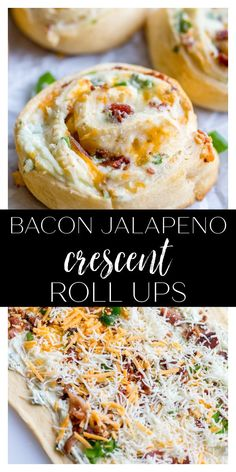 These Bacon Jalapeno Crescent Roll Ups are an easy appetizer or dinner recipe that are always a crowd favorite. They are made with canned crescent dough, bacon, cream cheese, garlic powder, green onions, chopped jalapenos, and shredded cheddar cheese. Cream Cheese Recipes, Bacon Recipes, Spicy Recipes, Delicious Recipes, Yummy Appetizers, Appetizer Recipes, Dinner Recipes, Crescent Dough, Crescent Rolls