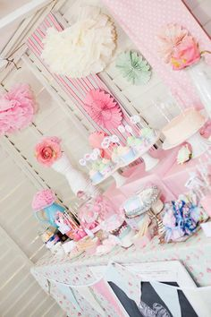 Shabby chic birthday party in pink green and vanilla