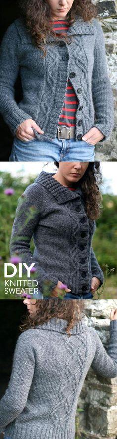 Traveler's End Cardigan Sweater Knitting Kit by Carol Feller