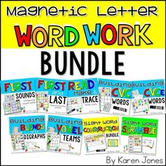 Word Work**This special Facebook PROMO price will expire on November 15th!**This bundle contains all 10 of my Magnetic Letter Word Work  center packs. These centers will take you through the whole year of instruction, covering a wide range of skills and standards: Sight Words, Letter instruction, Beginning and Ending sounds, CVC Words, CVCe words, Blends, Digraphs, and Vowel Teams.