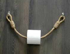 Toilet paper holder Wooden roll holder Jute Rope Nautical Dcor for the bathroom Bathroom Paper Towel Holder, Rustic Paper Towel Holders, Paper Roll Holders, Toilet Paper Roll Holder, Toilet Paper Holder Nautical, Diy Makeup Organizer, Industrial Toilets, Deco Marine, Nautical Bathroom Decor