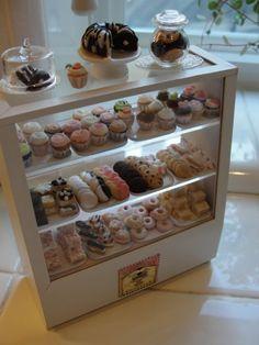 bakery display. cottage miniatures.