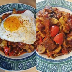 Vegan or vegetarian tofu and mushroom stew. 8 managed to get the tofu really crispy and the mushroom 3-way was yummy too. To give the stew a twist I added BBQed and quartered artichoke hearts to the dish.  If you feel like having a fried egg like I did just out it on top  #fitness #protein #healthy #fitfam #gym #eatclean #cleaneating #foodporn #fit #gains #nutrition #health #lowcarb #fitlife #healthyeating #healthyfood #healthyliving #gainz #recovery #fuel #macros #gymlife #postworkoutmeal…