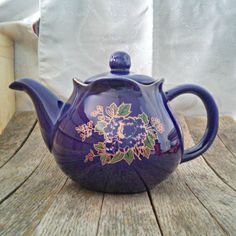 Vintage Cobalt Blue with Flowers Teapot with Lid, Porcelain, Gold Lined Mouth and Spout, Scalloped Rim, Cozy Kitchen Shabby Chic Style by LostTreasurebyLynn on Etsy