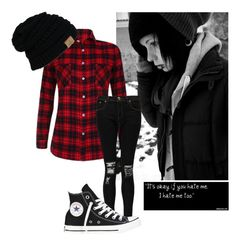 """""""-sighs- I'm just a heartbreaker not a dream maker.. ~Xavier"""" by in-wonderland33 ❤ liked on Polyvore featuring Boohoo and Converse"""