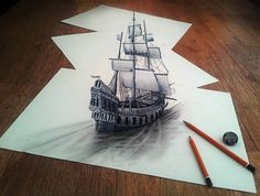 Self-taught Dutch pencil artist Ramon Bruin has taken art to new depths. His drawings bring new life to what would normally be just a piece of paper. The pencil drawings pop out in an optical illusion and play with viewers' eyes. Illusion Drawings, 3d Drawings, Amazing Drawings, Illusion Art, Realistic Drawings, Amazing Sketches, Amazing Artwork, Amazing Photos, 3d Pencil Sketches