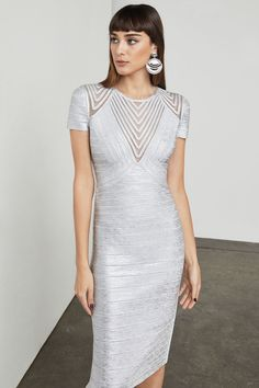 9adf1903c6df Herve Leger Sleeveless Short Silver Bandage Dresses