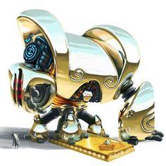 Chrome Monstrobot + Golden Tournament Base