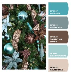 ‿✿⁀ Tiffany blue and chocolate brown decorated Christmas tree ‿✿⁀ ColorSnap by CNH