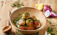 MOROCCAN CHICKEN MEATBALLS WITH TOMATO GRAVY AND PAP - Chicken mince seasoned with the authentic flavours of North Africa combined with the traditional accompaniments of South Africa – pap and tomato gravy. Naturally tasty fusion food!