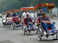 Cyclos are the way to get around in the cities in Vietnam.