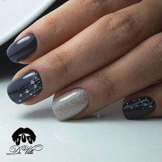 photos vk dark grey nails, dark color nails, grey gel nails, b Grey Gel Nails, Dark Color Nails, Silver Nails, Nail Colors, Dark Grey Nails, Acrylic Nails, Silver Glitter, Blue Nail, Accent Nails