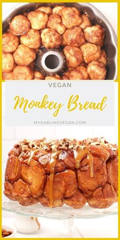 This Vegan Monkey Bread with Caramel Pecan Drizzle is the meal worth waking up for. It's made of enriched yeasted dough balls and drizzled with coconut caramel sauce and toasted pecans for a decadent vegan brunch. Vegan Dessert Recipes, Delicious Vegan Recipes, Baking Recipes, Whole Food Recipes, Vegan Caramel, Caramel Pecan, Vegan Treats, Vegan Foods, Monkey Bread