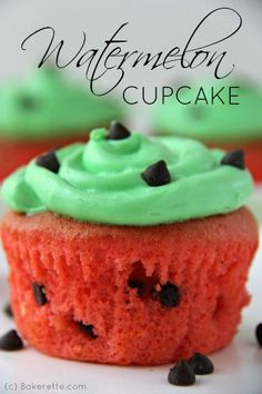 A simple chocolate chip cake recipe creates these adorable watermelon cupcakes that will liven up any spring or summer party.