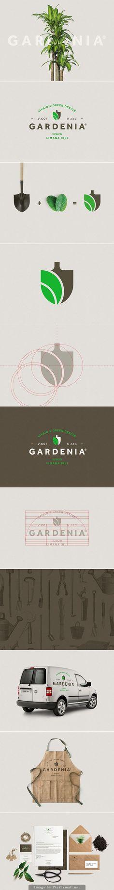 Gardenia identity by Luca Fontana // Creación de un logo simple que expresa fácilmente su propósito. Corporate Design, Brand Identity Design, Graphic Design Branding, Design Graphique, Art Graphique, Web Design, Modern Design, Design Art, Business Branding
