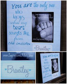 Personalized Baby Boy Picture Frame w Quote, Distressed Blue Stripe, by ImpressionsByMisty, $35.00