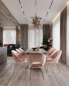 Pink Dining Rooms, Luxury Dining Room, Living Rooms, Home Room Design, Dining Room Design, Dining Area, Small Dining, Design Kitchen, House Design