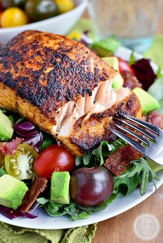 Gluten-free BBQ Salmon BLT Salad has a homemade smoky-sweet salmon rub ...
