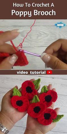 Crochet Poppy Free Pattern, Crochet Flower Tutorial, Crochet Applique Patterns Free, Crochet Appliques, Crochet Crafts, Easy Crochet, Crochet Projects, Crochet Brooch, Crochet Motif