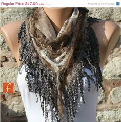 Earth Tones -  Brown Scarf -  Cowl Scarf with Lace Edge by Fatwoman