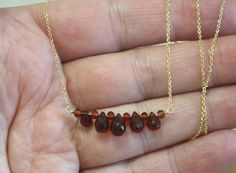 Handmade in Canada by me - Natural Garnets 7 carats 6mm - 8mm - 14K Vermeil chain from Italy 18 or 19 adjustable 45cm or 48.5cm - January Birthstone - 2nd Anniversary gem   I made this necklace with hand cut and faceted natural garnets and 14K Vermeil chain. The garnets are AA quality in a rich wine red color. The total length of this piece is 18 or 19 so it can be worn in two different lengths.  ( for those of you that are not familiar with the term vermeil, it is used to describe sterling…