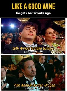 Robert Downey, Jr: Like a good wine he gets better with age.  Although I liked him when was he was younger too.