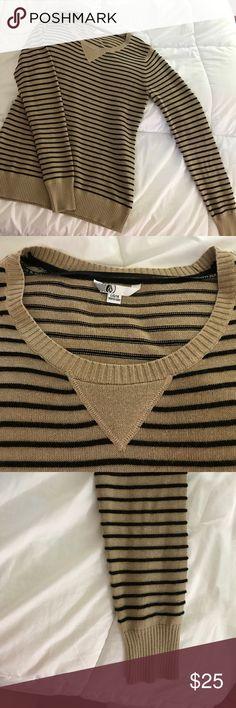 Volcom Sweater EUC- tan with thin black stripes. Very flattering shape Volcom Sweaters Crew & Scoop Necks