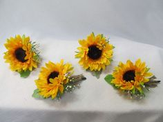 4 yellow orange silk flower sunflower corsage boutonniere bridal wedding country