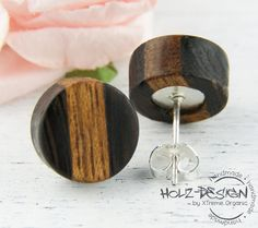 Mini wooden Earstuds small earrings wooden by HolzDesignGermany