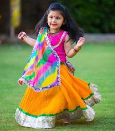 Gorgeous Lehenga Choli for kids with MultiColor Dupatta