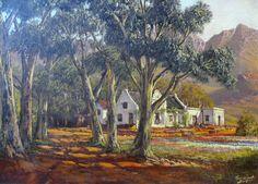 De Jongh, Tinus   Farm landscape Africa Painting, Artist Painting, Love Art, All Art, Oil Paintings, Landscape Paintings, Cape Dutch, Art Houses, Cottage Art