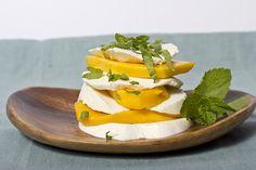 mango, mint, and mozzarella with a little coarse salt.  summertime!