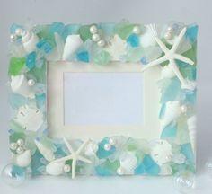 Beach Decor Seashell and Sea Glass Frame  by beachgrasscottage, $79.00