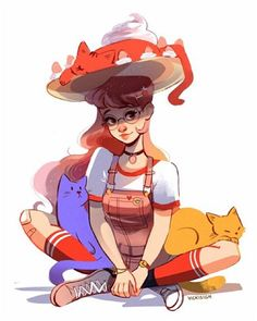 My witchsona for 2016! A strawberry shortcake, primary color, kitty loving gal…
