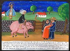 Mexican Exvoto Retablo A Witch ON A PIG | eBay