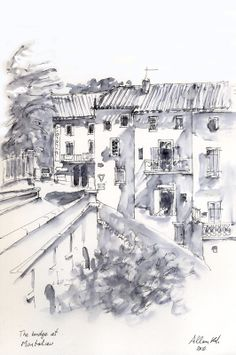 Bridge at Montolieu by Allan Kirk Faber-Castell PItt artist pen. Pen and watercolor wash. Do wash first and wait for it to dry before applying pen. Pen And Wash, Ink Wash, Faber Castell, Pen And Watercolor, Watercolor Paintings, Pen Pen, Pitt Artist Pens, Architecture Sketches, Tinta China