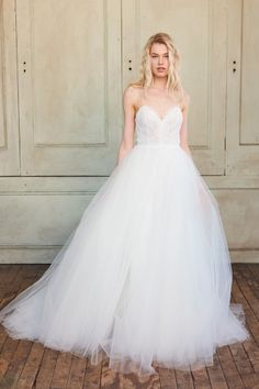 See every dress from the Christos Spring 2018 wedding dress collection, straight from the Bridal Fashion Week runways! Lace Back Wedding Dress, Chic Wedding Dresses, Designer Wedding Dresses, Bridal Dresses, Tulle Wedding, Gown Wedding, Dream Wedding, Wedding Skirt, Lace Ball Gowns