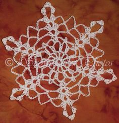 The first original snowflake pattern I published and shared! Crochet Snowflake Pattern, Crochet Stars, Crochet Snowflakes, Doily Patterns, Thread Crochet, Crochet Hooks, Crochet Patterns, Crochet Doilies, Snowflake Photos