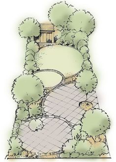 Curves add interest: A simple series of four circles, some paving, some lawn, on different levels create a practical easy maintained suburban garden. mirror.co.uk