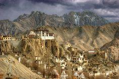 Lamayuru monastery, high up in the middle of nowhere north of the Himalaya range, Ladakh, India.