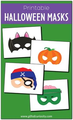 Halloween masks! Six different Halloween masks to choose from! Both color and black-and-white options. #freeprintables #Halloween    Gift of Curiosity