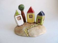 Miniature Houses with tree clay houses ceramic by potteryhearts