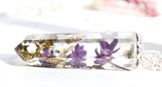 Crystal Pendant Necklace /Crystal Point Necklace / Real Flowers Necklace / Lilac Necklace / Nature inspired / Resin