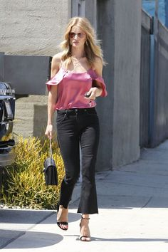 Pretty in Pink: Rosie Huntington Whiteley's Cold Shoulder Top and Crop Flare Jeans