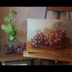I say it's done sixth sitting time to eat the grapes!  Lala Ragimov oil on linen. oil on canvas картина маслом grapes grapespainting still life oil on linen snyders painting fruit painting old master technique raisins classical painting interior decor  interior design  classical art