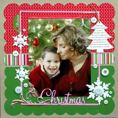 American Crafts Paper Merriment scrapbook layout - Layout would be good for single studio photo - either Xmas or birth year Christmas Scrapbook Layouts, Scrapbook Paper Crafts, Christmas Layout, Simple Christmas, Christmas Border, Christmas Photos, Christmas Holiday, Scrapbook Sketches, Scrapbook Page Layouts