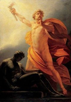 In Greek mythology, Prometheus is a Titan known for his wily intelligence, who stole fire from Zeus and gave it to mortals for their use.