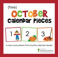 October Calendar Numbers and Header - Free Printable Pocket chart calendar numbers and header for the month of October. Fits in standard pocket charts and includes 3 colors and patterns with a calendar header. November Calendar, Free Calendar, Calendar Time, Printable Calendar Template, Kids Calendar, October, 2021 Calendar, Calendar Ideas, Free Printables