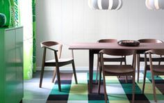 I love the chairs in this photo. But I can't find them!! Dining tables | Kitchen tables | Dining chairs | Dishes | Bowls | IKEA